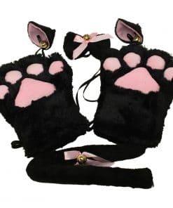 Conjunto Gatinha Kitty Kawaii Cosplay 4 Peças Vestuário Jogos Adultos