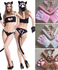 Cosplay de Gatinha Conjunto Completo em Pelúcia Vestuário Jogos Adultos