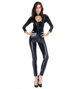 Body Catsuit PVC Látex BodySuit Frente Zíper Vestuário