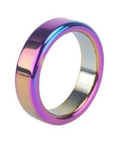 Anel Peniano Rainbow em Aço Inoxidável Cock Ring Pênis Jogos Adultos