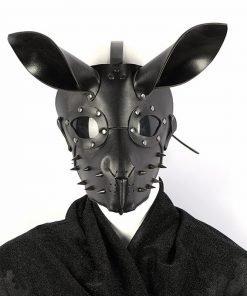 Máscara Punk Coelho de Couro BDSM Luxury Vestuário BDSM Máscara