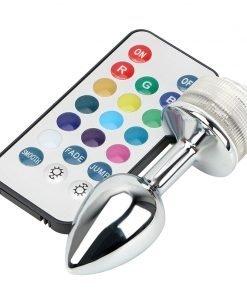 Plug Anal Lead Colorido RGB Aço Inoxidável Butt Plug com Controle Inserção Plug anal Jogos Adultos