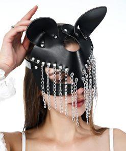 Máscara de Gata Em Couro E Correntes Modelos Vestuário Pet Play