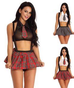 Fantasia De Colegial Sexy Saia E Mini Regata School Girl Vestuário Jogos Adultos