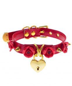 Colar gótico punk de couro pu com fivela, gargantilha artesanal kawaii de flor rosa e coração com chave 8 cores Vestuário